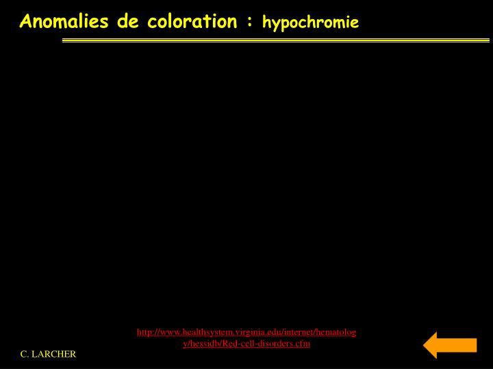 Anomalies de coloration :