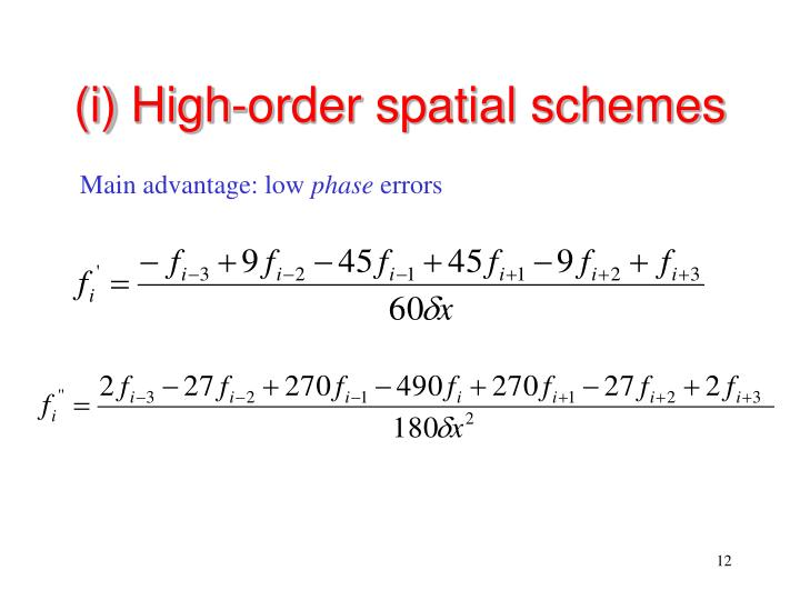 (i) High-order spatial schemes