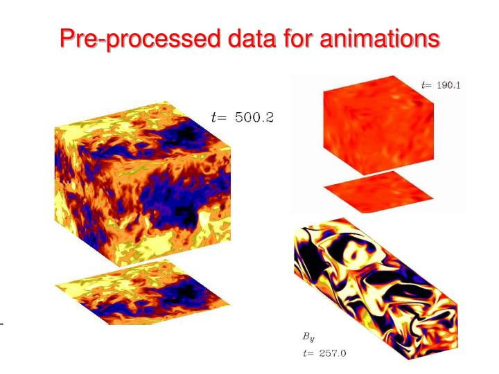 Pre-processed data for animations