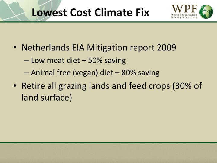 Lowest Cost Climate Fix