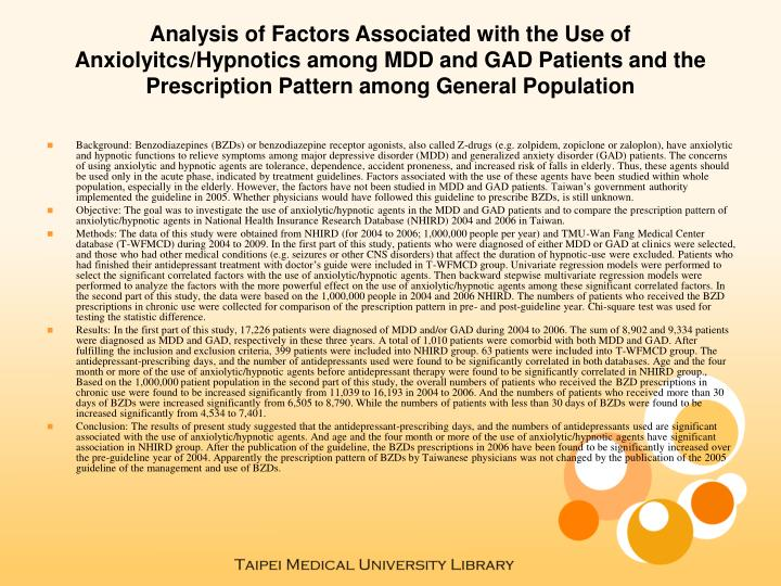 Analysis of Factors Associated with the Use of Anxiolyitcs/Hypnotics among MDD and GAD Patients and ...