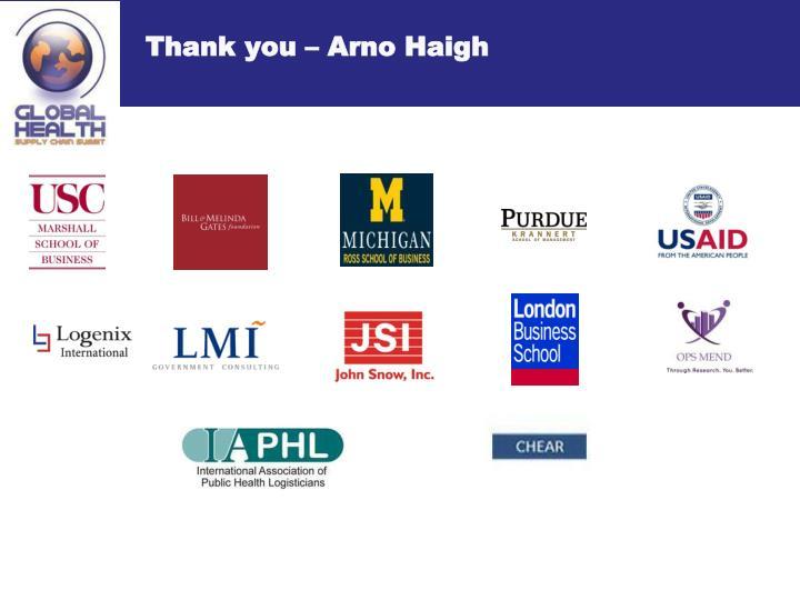 Thank you – Arno Haigh