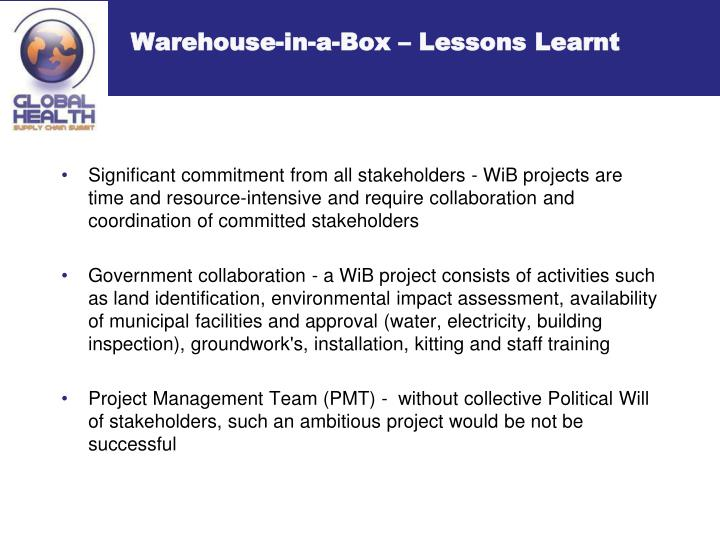 Warehouse-in-a-Box – Lessons Learnt