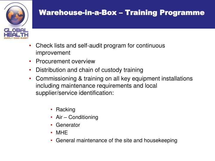 Warehouse-in-a-Box – Training Programme