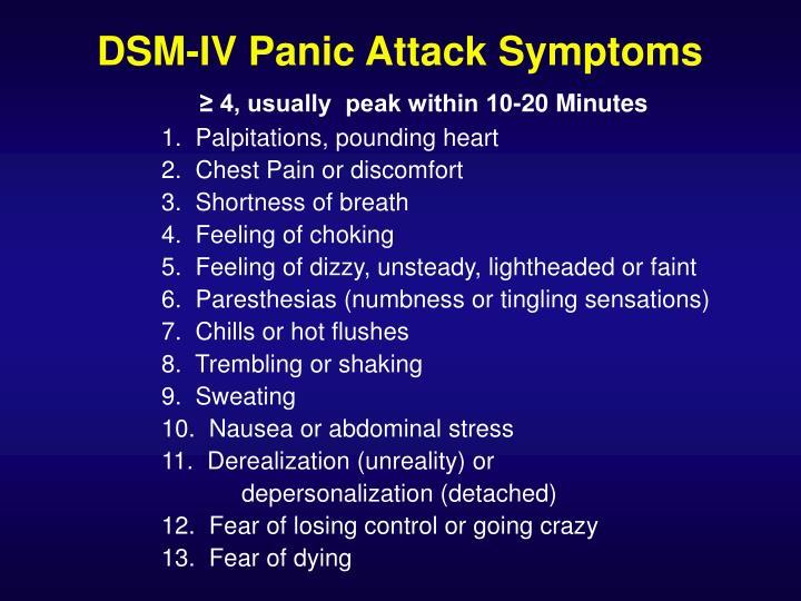DSM-IV Panic Attack Symptoms
