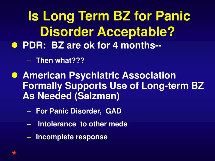 Is Long Term BZ for Panic Disorder Acceptable?
