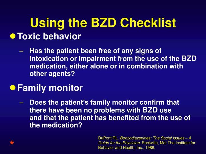 Using the BZD Checklist