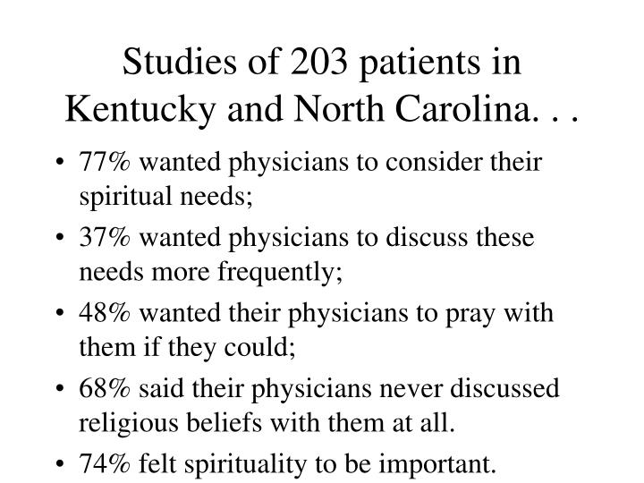 Studies of 203 patients in Kentucky and North Carolina. . .