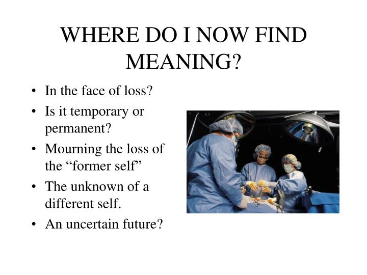 WHERE DO I NOW FIND MEANING?