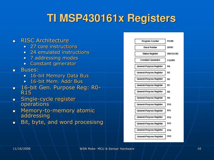 TI MSP430161x Registers