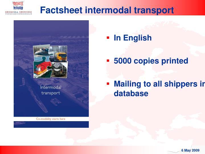 Factsheet intermodal transport