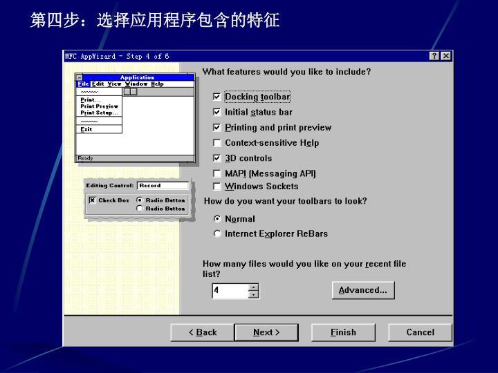 第四步:选择应用程序包含的特征