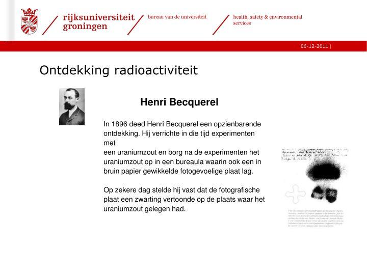 Ontdekking radioactiviteit