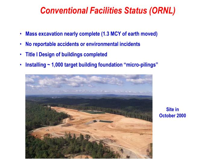 Conventional Facilities Status (ORNL)