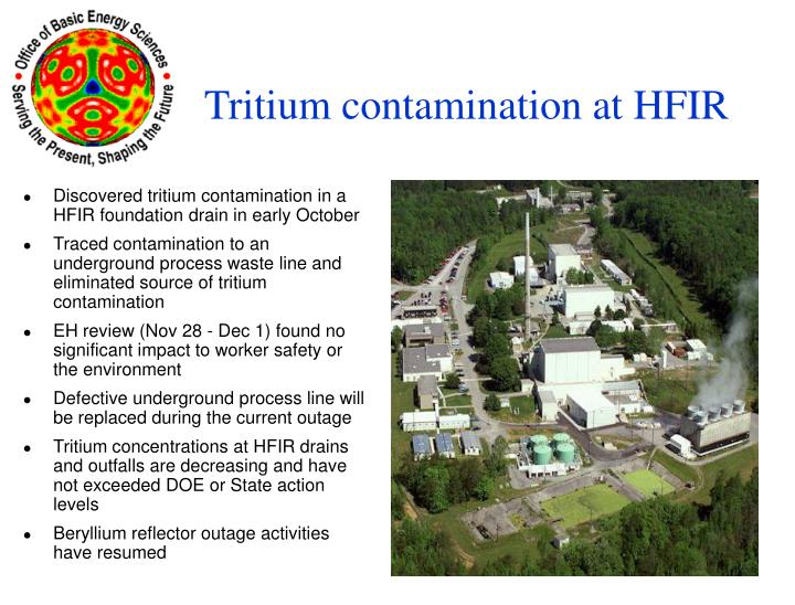 Discovered tritium contamination in a HFIR foundation drain in early October