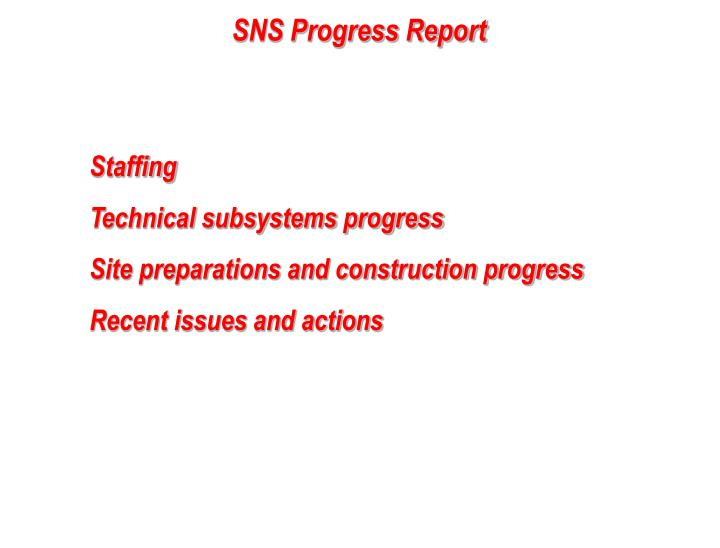 SNS Progress Report