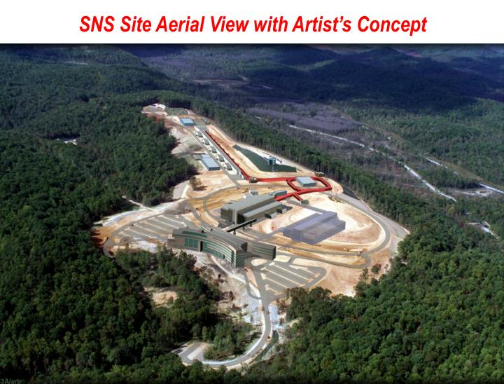 SNS Site Aerial View with Artist's Concept