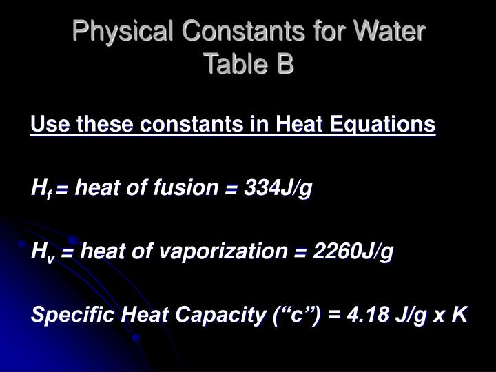 Physical Constants for Water