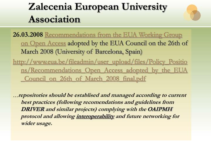 Zalecenia European University Association
