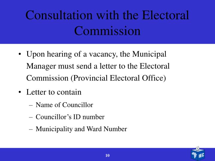 Consultation with the Electoral Commission
