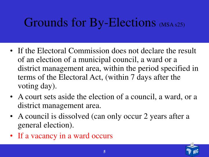 Grounds for By-Elections