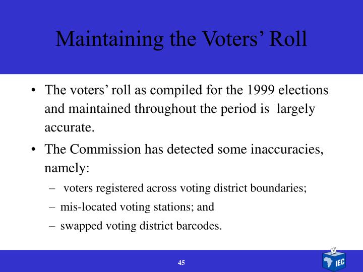 Maintaining the Voters' Roll