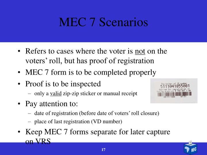 MEC 7 Scenarios