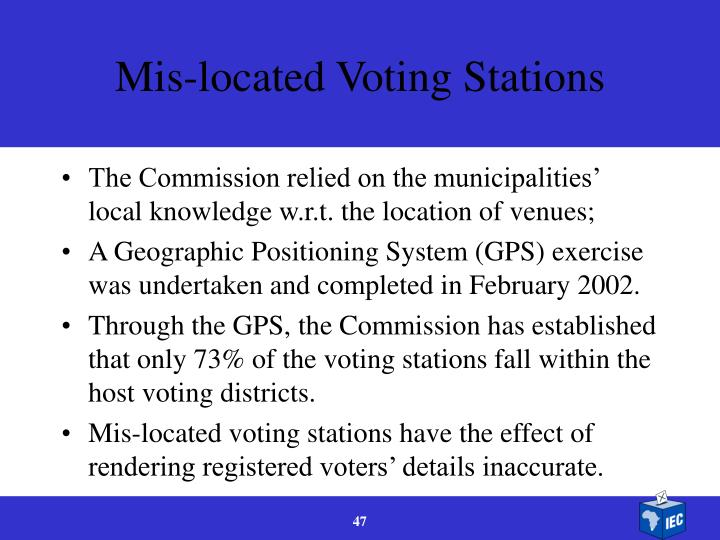 Mis-located Voting Stations