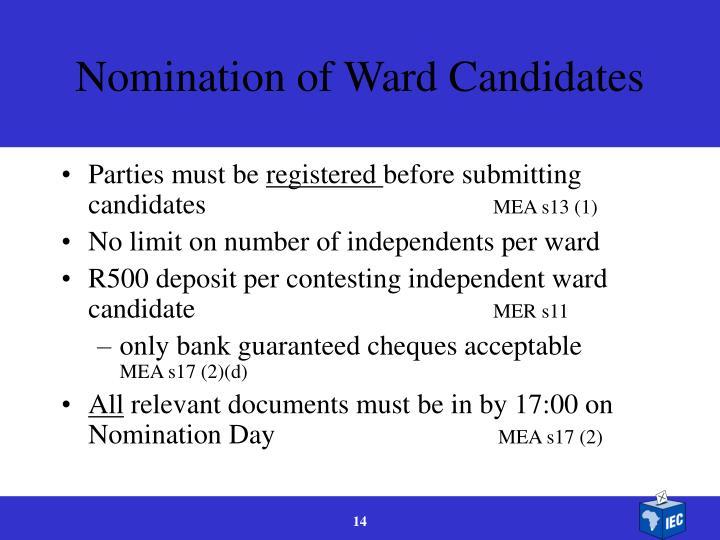 Nomination of Ward Candidates