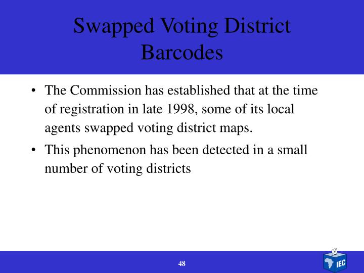 Swapped Voting District Barcodes
