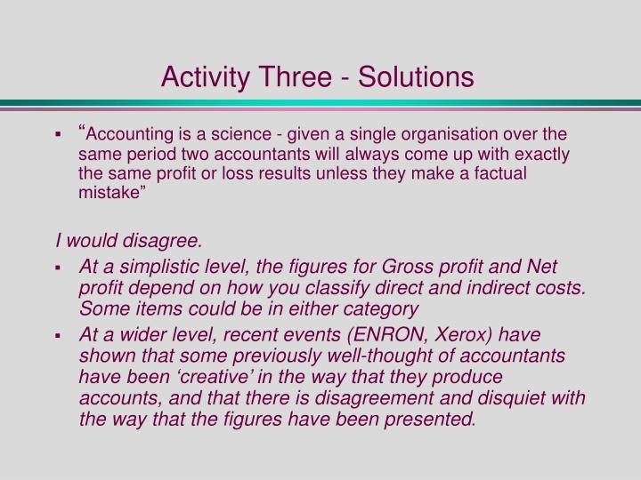 Activity Three - Solutions