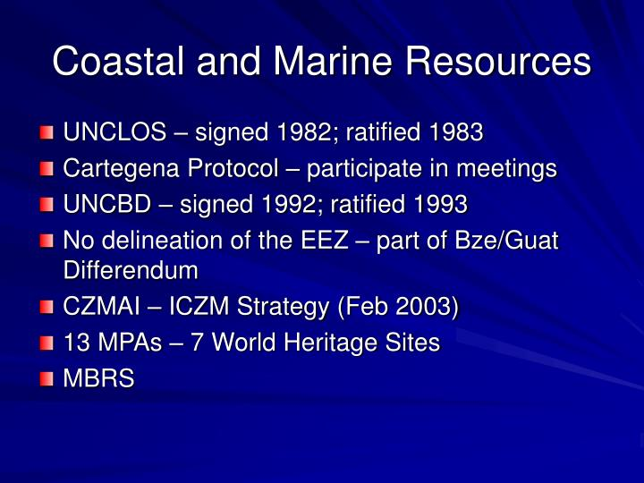 Coastal and Marine Resources