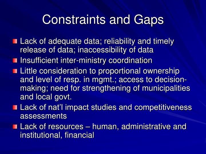 Constraints and Gaps