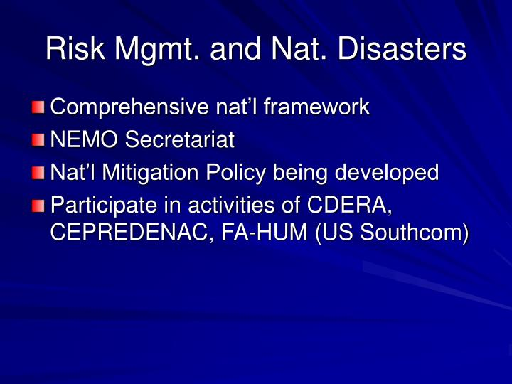 Risk Mgmt. and Nat. Disasters