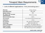 timepix2 main requirements