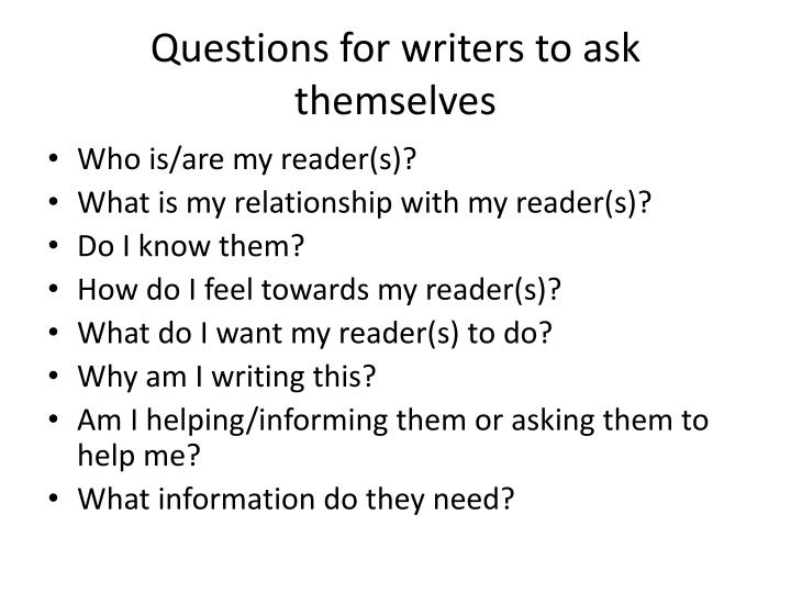 Questions for writers to ask themselves