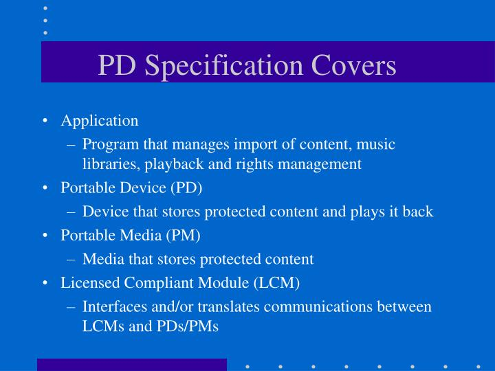 PD Specification Covers