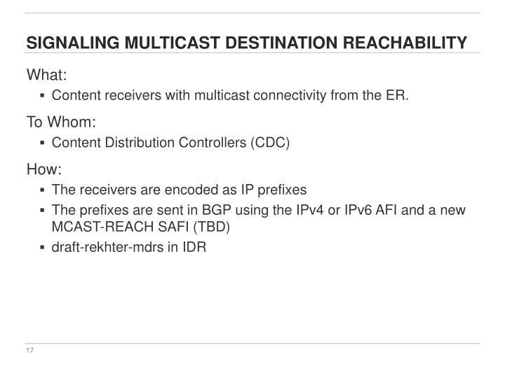 Signaling multicast destination