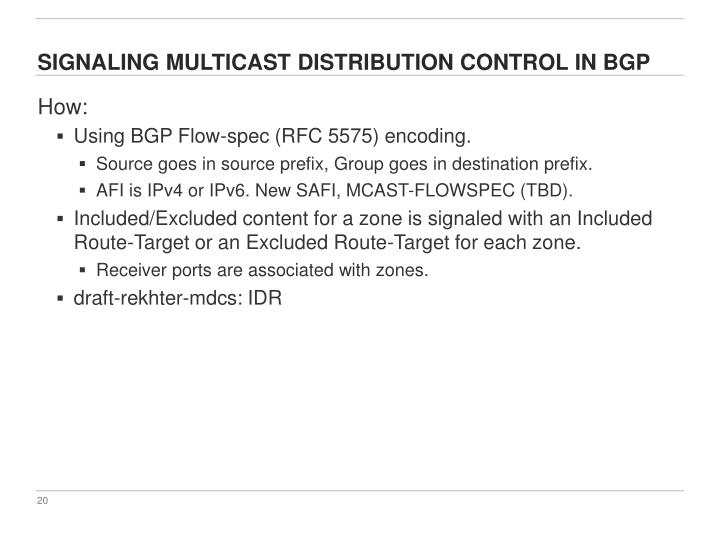 Signaling Multicast Distribution Control in BGP