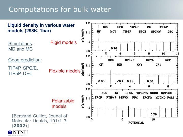 Computations for bulk water