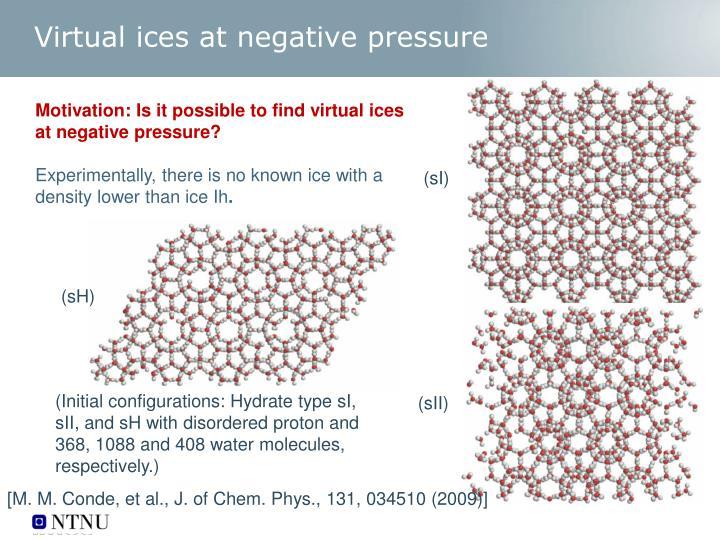 Virtual ices at negative pressure