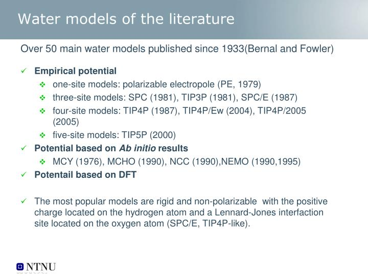 Water models of the literature