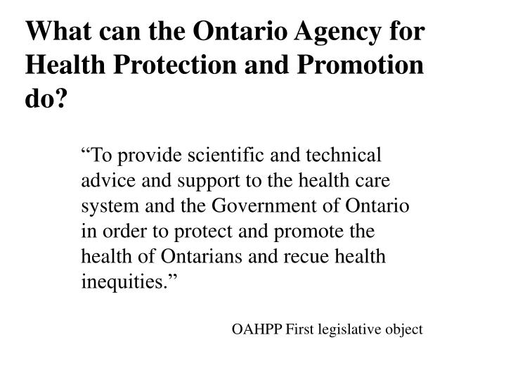 What can the Ontario Agency for Health Protection and Promotion do?