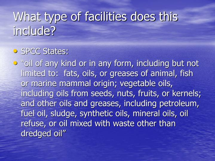 What type of facilities does this include?