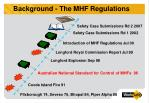 background the mhf regulations
