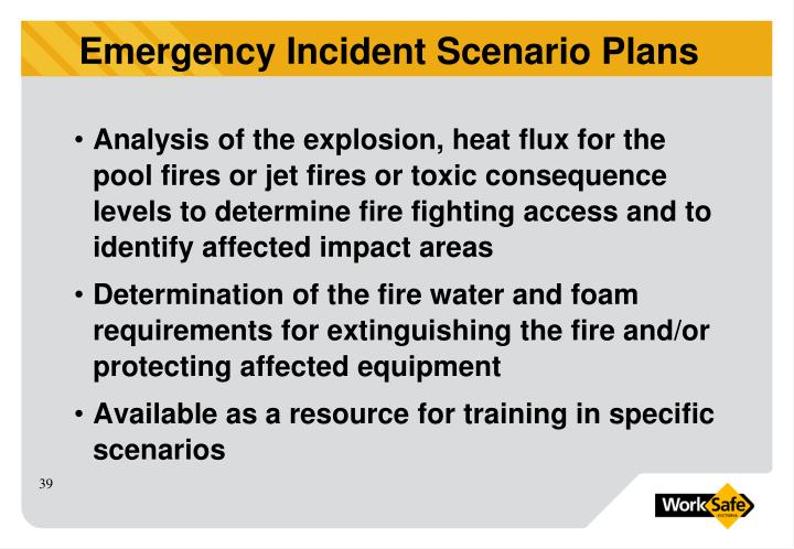 Analysis of the explosion, heat flux for the pool fires or jet fires or toxic consequence levels to determine fire fighting access and to identify affected impact areas