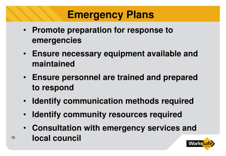 Promote preparation for response to emergencies
