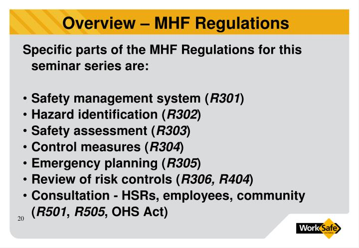 Specific parts of the MHF Regulations for this seminar series are: