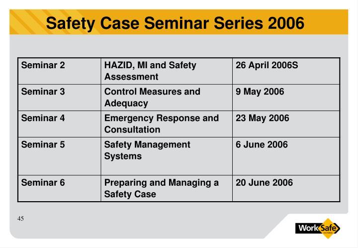 Safety Case Seminar Series 2006
