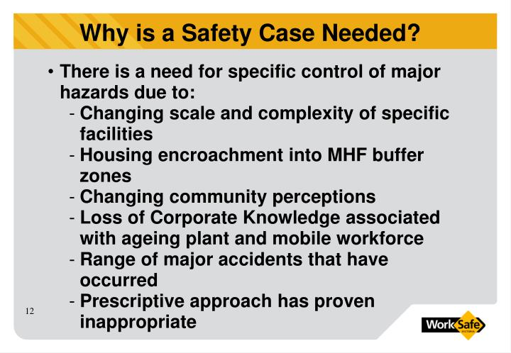There is a need for specific control of major hazards due to: